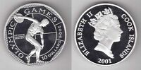 COOK ISLANDS - PROOF SILVER 10$ COIN 2004 YEAR OLYMPIC GAMES DISCUS