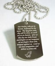 LORD'S PRAYER RELIGIOUS STAINLESS STEEL PRAYER DOG TAG NECKLACE