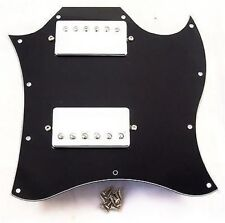 HUMBUCKER LOADED SG SCRATCHPLATE ASSEMBLY / GIBSON SG ETC / BLACK 3 PLY