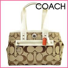 NWT Coach White Khaki Daisy Signature Shoulder Bag Large Tote Handbag Purse