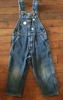 USA Vintage Osh Kosh 3T Denim Jumper Vestback Overalls Embroidered Toddler GIRL