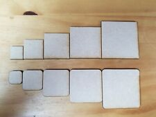 SQUARES 2 to 6cm - Blank Craft Shapes Wood MDF 3mm - with/out curved corners