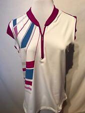 Adidas ClimaCool Sleeveless Polo Shirt Womens Pink Golf Top Size Medium