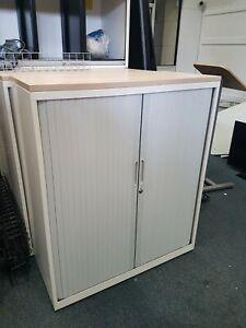 118 Tambour Door Metal Office Storage Cabinet Shelves W/ No Top Grey Unit LONDON