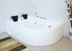 XXL Luxus Whirlpool Badewanne 180x120 cm mit Armaturen für Bad Eckwanne LINKS