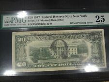 1977. $20. Federal Reserve Note - New York - Offset Printing Error