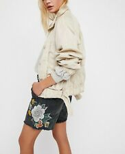 New Free People Embroidered Scout Short Camo Floral Boyfriend Fit Size 0