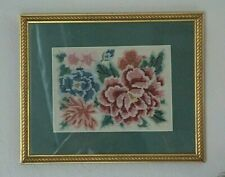 Vintage Handmade Floral Petit Point Gilded Frame & Moss Green Matted Wall Art