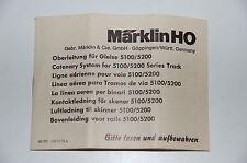 Märklin H0 - Original Beschreibung für Oberleitungen M-Gleis ON 0774 ju - TOP  a