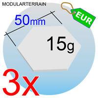 3x HEX CLEAR ACRYLIC BASE 50mm HEXAGONAL METACRILATO 2mm SOCLE TRANSPARENT