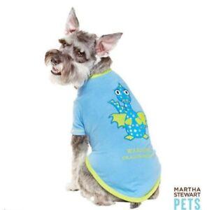 """NWT Martha Stewart Pets Blue Dog shirt """"Warning Dragon Breath"""" Size Large"""