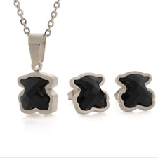 Stainless steel Vacuum plating Natural agate crystal Bear Necklace Earrings set