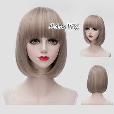 Lolita 30CM Short Mixed Blonde Short Straight Neat Bang Hair Girls Cosplay Wig