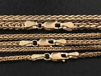 Gold Necklace Hollow Square Wheat Pendant Chain 14K Yellow White Gold Italy