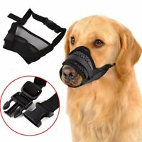 Adjustable Pet Dog Mask Anti Bark Bite Mesh Mouth Muzzle Grooming Stop Chewing