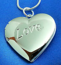 925 Silver Plated Opening Heart Locket 18 Inch Necklace Pendant Chain Jewelry