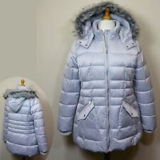 M&S Ladies' QUILTED & PADDED Winter PARKA COAT with HOOD ~ Size 18 ~ SILVER GREY