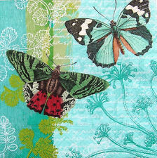 4 Servietten Vintage Schmetterlinge Papillon Butterfly Blumen Serviettentechnik