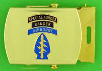 SPECIAL FORCES  RANGER  AIRBORNE ARMY Web Belt & Brass Buckle - black belt