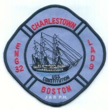 """Boston Engine-32 / Ladder-9  """"U.S.S. Constitution"""", MA (5"""" x 5"""" size) fire patch"""
