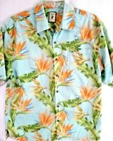 Jamaica Jaxx, Mens Hawaiian Shirt, Large, 100% Silk, Floral Bird of Paradise