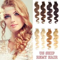 20pcs Wavy Remy Weft Human Skin Tape-In Hair Seamless Extensions Hair Extensions