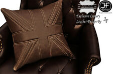 "1X EXCLUSIVE LUXURY LEATHER CUSHION DISTRESSED BROWN UNION JACK PADDED 18""x18"""
