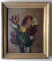 Tableau ancien Impressionniste Bouquet Tulipes Huile dans le Goût LOVIS CORINTH