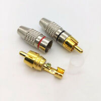 10Pcs RCA Gold Plated Plug Audio Male Connector Metal Adapters Terminal AV Audio