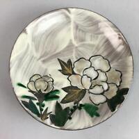 Japanese Ceramic Plate Kyo ware Kozara Vtg Pottery Peony Floral Design PT498