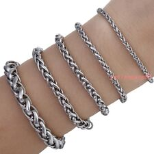 3/4/6/8mm Stainless Steel Wheat Link Bracelet Mens Chain Boys Fahsion Jewelry