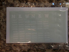 Norfolk & Western ballast car decals (former Virginian class BL-4), in white, HO