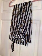 BOOHOO Heather Chain Mono Stripe Beach Trousers Black Small BNWT