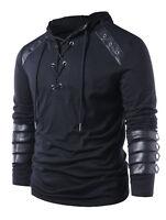 Winter Mens Drawstring Hoodies Lace Up Sweats Leather Insert Hooded Sweatshirt