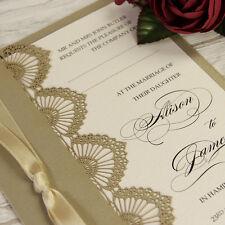 Gold Shell Laser Cut Personalised Handmade Luxury Wedding Day Invitations Sample