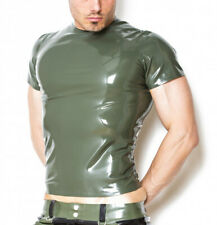 Latex T-shirt Rubber Tops No Zipper Short Sleeves Fitting Sexy Cool XS-XXXL .4mm