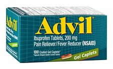 Advil Ibuprofen Tablets, 200mg Pain Reliever/Fever Reducer 100 Gel Caplets Each