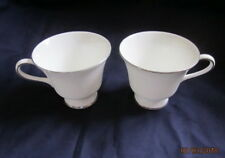 WEDGWOOD SILVER ERMINE 2 x FOOTED TEA CUPS FREE P&P