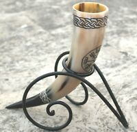 Ale beer wine Vegvisir viking drinking horn for Christmas with special stand