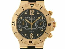 BVLGARI Scuba SC38G Used Watch Men's Automatic CHR YG Rubber Belt 300m Water Res