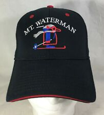 Mt Mount Waterman Baseball Hat Cap Black Red Size S/M Otto-Flex Embroidered
