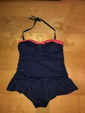 George Size UK 20 Swimsuit Swimming Costume With Skirt Halter Strapless Navy
