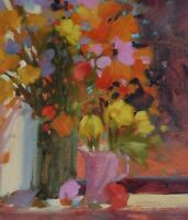 """HOWARD CARR SIGNED ORIGINAL OIL PAINTING OF FLOWERS TITLED """"WINDOW BUDDIES"""""""