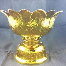 VINTAGE TRAY THAI TRADITIONS BUDDHA ALTA PEDESTAL BOWL AMULET GOLD, SILVER