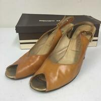 Bruno Magli 4269 Size 8 AA Peep Toe Leather Slingback Pumps Heels Beige Patent