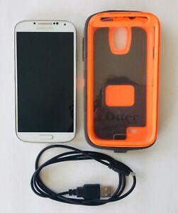 "SAMSUNG GALAXY S4 16GB White VERIZON PREPAID LOCKED 5"" Display WORKS & OTTER BOX"