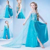 FROZEN Mädchen Karneval Kostüm-Eiskönigin Elsa Fasching verkleiden Märchen Kleid