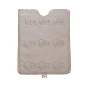 RRP €380 JOHN RICHMOND Leather Tablet Sleeve Universal Grey Embossed Skulls