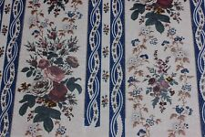 French Antique BlockPrinted Rose Bouquet Stripe Chintz Artwork On Paper c1840-60