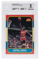 Michael Jordan Bulls 1986-87 #57 Fleer Rookie Basketball Card BGS 8 NM MT 199